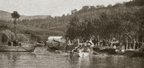 Photograph of the Os Caneiros fiesta, circa 1900