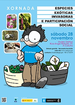 "Image of the poster of the conference ""Exotic invasive species and social participation"""